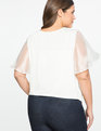 Studio Embellished Flutter Sleeve Top Soft Cream