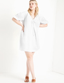 Cinched Neckline Dress Soft White