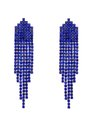 Crystal Waterfall Earrings Sapphire + Hematite