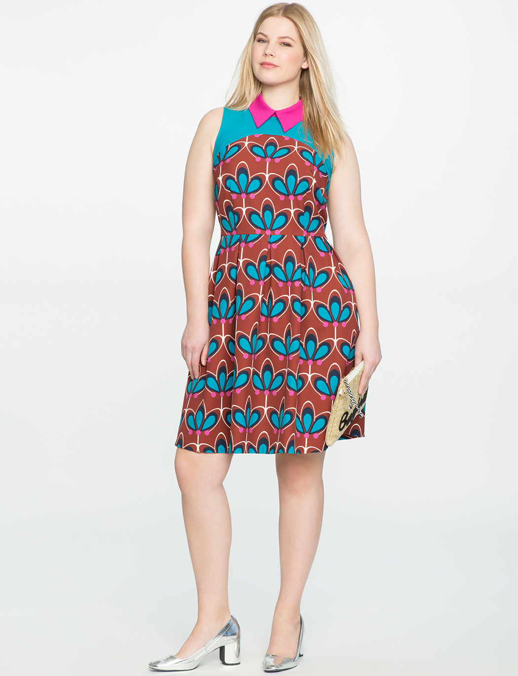 Block Print Fit & Flare Dress