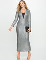 Studio Sequin Fitted Gown Silver