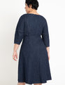 A-Line Lantern Sleeve Denim Dress Dark Wash