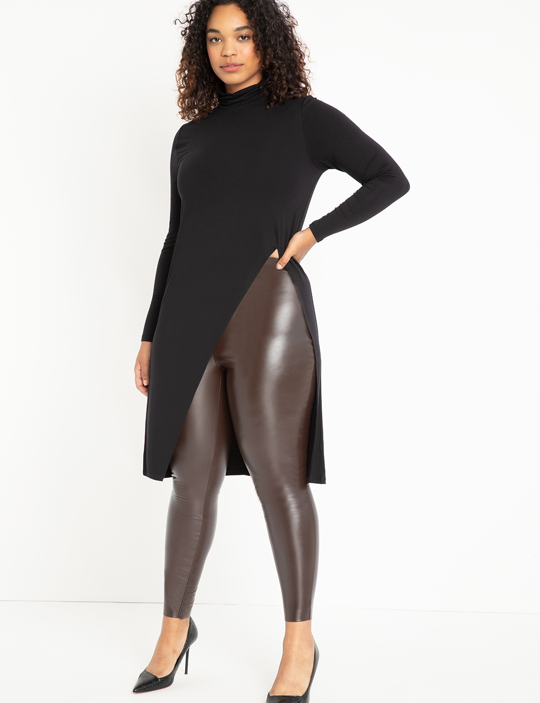 Long Sleeve Top with Dramatic Slit