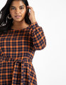 Plaid Fit and Flare Dress Orange + Navy Plaid