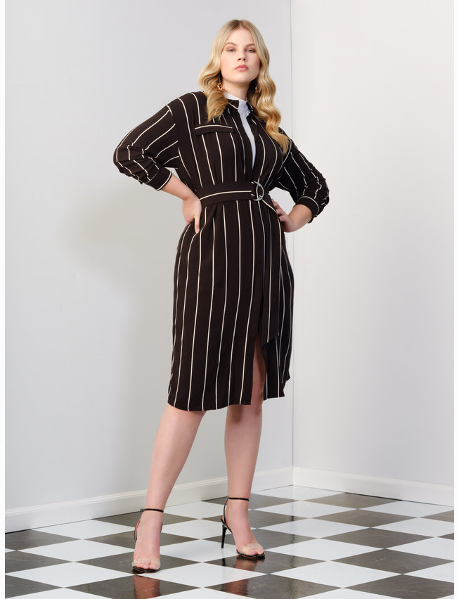 Button Front Belted Dress