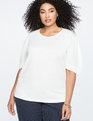 Structured Puff Sleeve Top Soft White