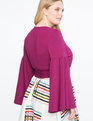 V-Neck Bell Sleeve Wrap Top Crushed Berry