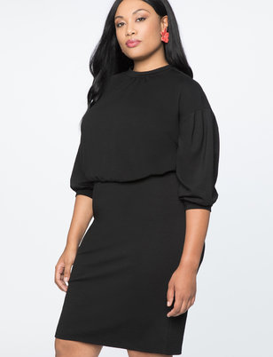 Puff Sleeve Tie Back Ponte Dress