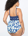 Cross Halter One-piece Swimsuit NAVY / HULA HYPNOTIST