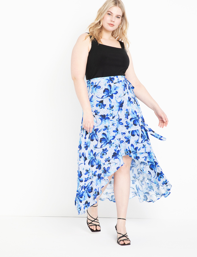 High Low Wrap Skirt with Flounce
