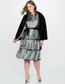 Sequin Layered Tea Dress Silver