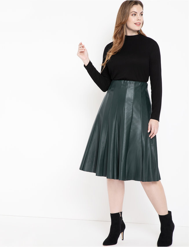 Studio Faux Leather Trumpet Skirt