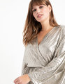 Pleated Metallic Wrap Dress Gold