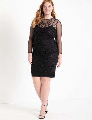 Embellished Mesh Dress