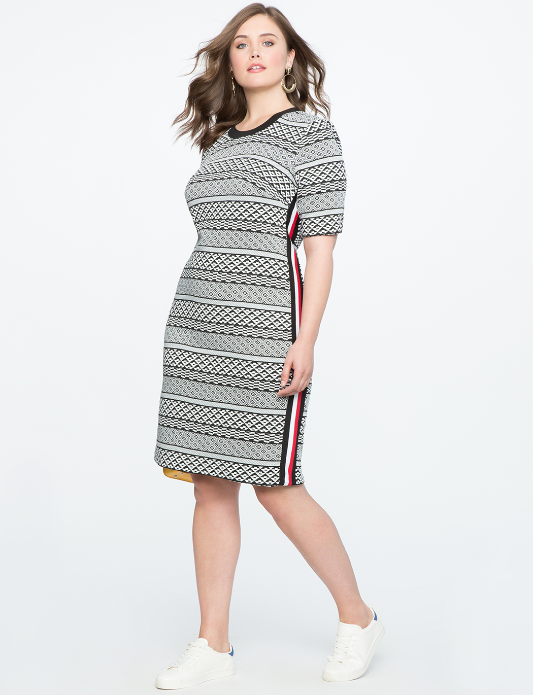 Textured Column Dress with Rib Trim