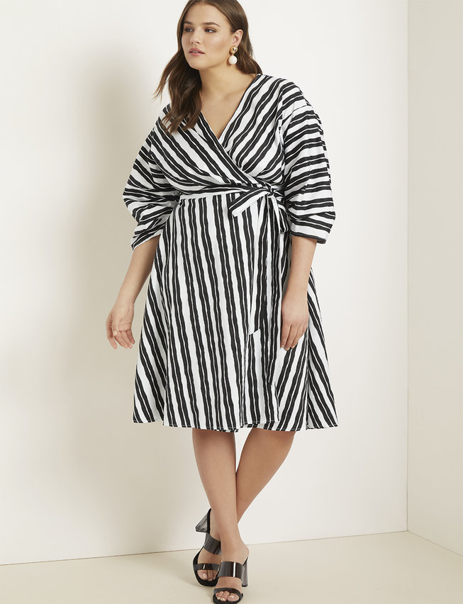 Striped Wrap Dress with Puff Sleeves