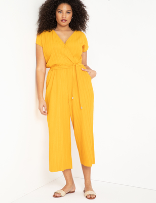 Textured Crop Jumpsuit