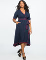 True Wrap Dress with Piping Detail TRUE NAVY + CORDOVAN