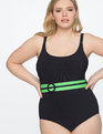 One Piece Swimsuit with Contrast Belt Navy with Green Belt