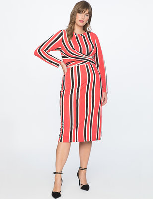 Striped Ottoman Tie Back Midi Dress