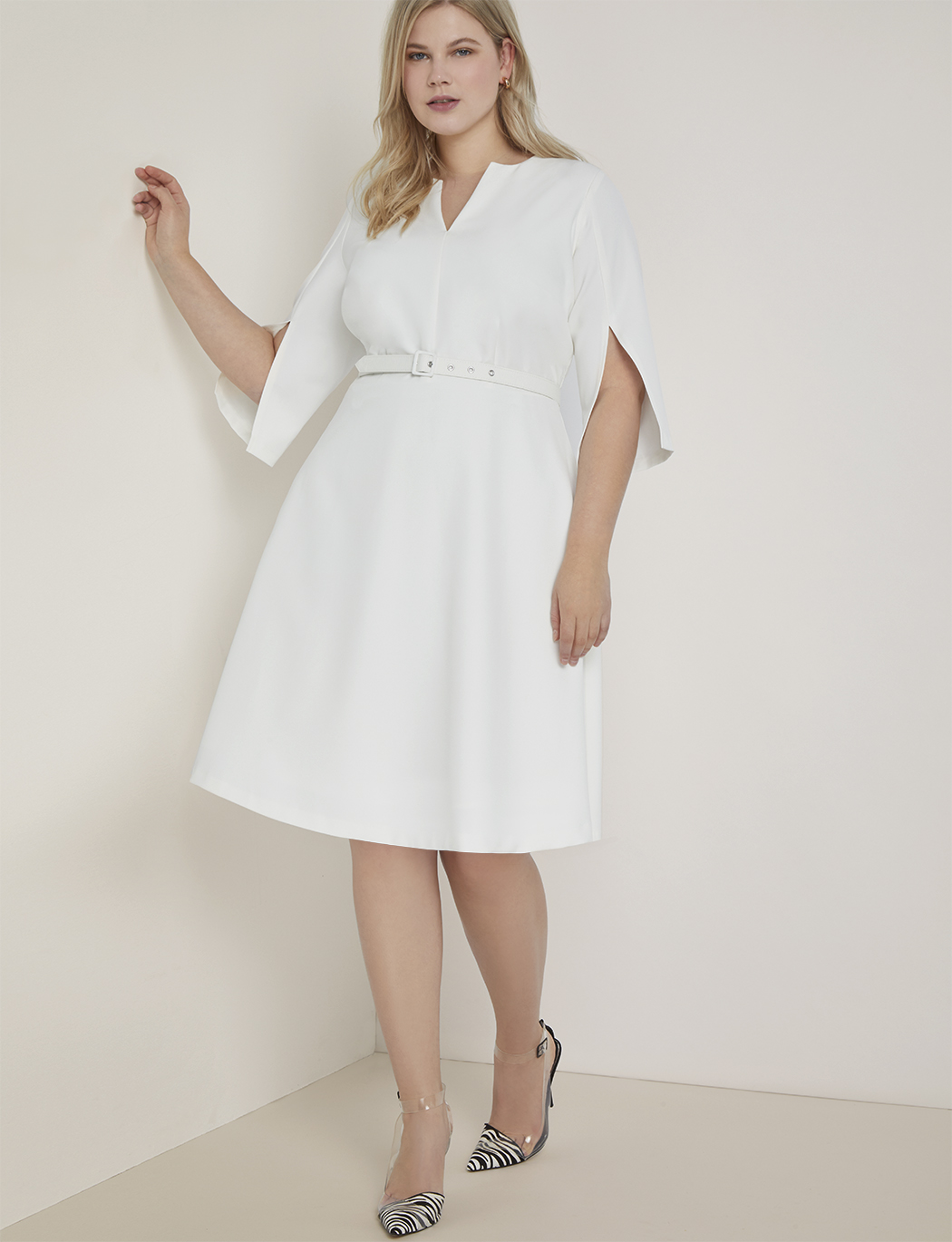 Slit Sleeve Fit and Flare Dress | Women\'s Plus Size Dresses | ELOQUII