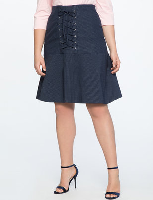 Pinstripe Skirt with Corset Detail
