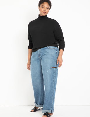 Distressed Wide Leg Jean with Roll Cuff