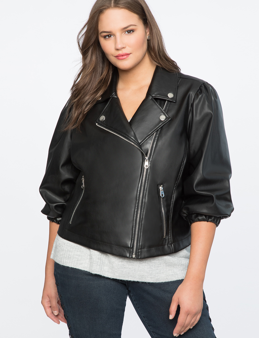 b2e504c25c7 Puff Sleeve Faux Leather Moto