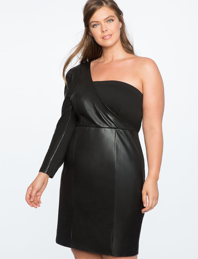 One Shoulder Puff Sleeve Faux Leather Dress   Women\'s Plus Size Dresses    ELOQUII