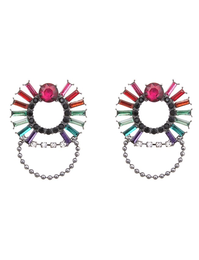 Rainbow Jeweled Statement Stud Earrings