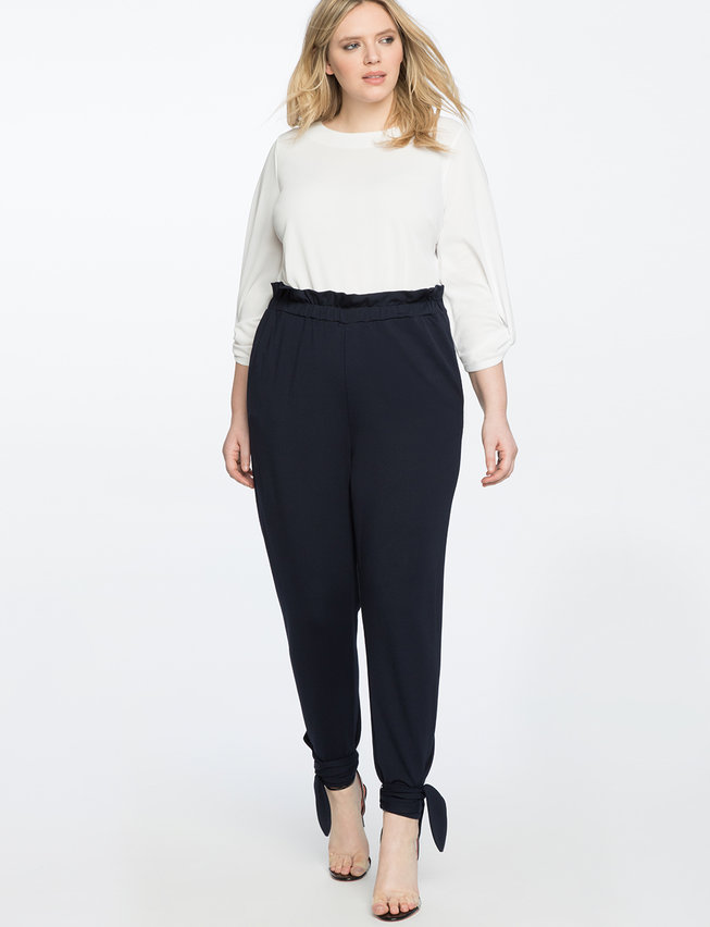 Ruffle Waist Pant With Ankle Tie