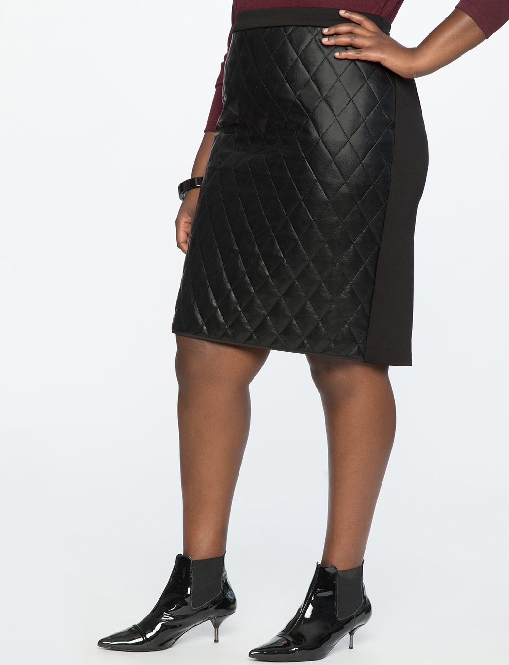 Quilted Faux Leather Pencil Skirt