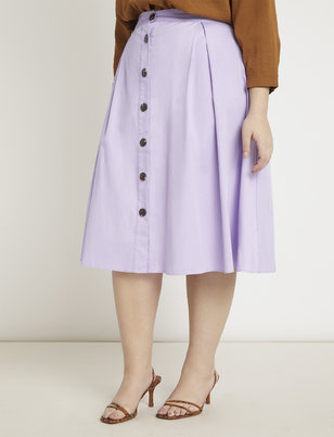 Button Front Midi Skirt