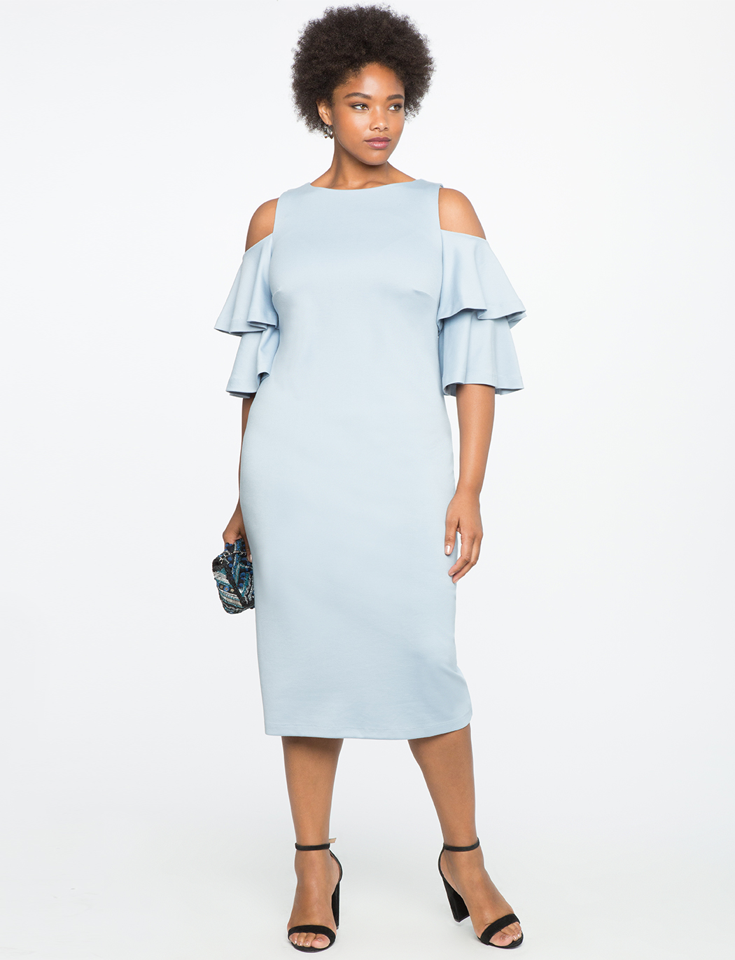 Flounce Sleeve Cold Shoulder Dress