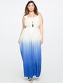 Teresa for ELOQUII Silk Tie Dye Maxi Dress White / Blue