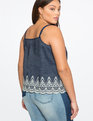 Embroidered Chambray Tank Dark Wash