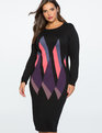 Graphic Print Sweater Dress MULTI-COLOR