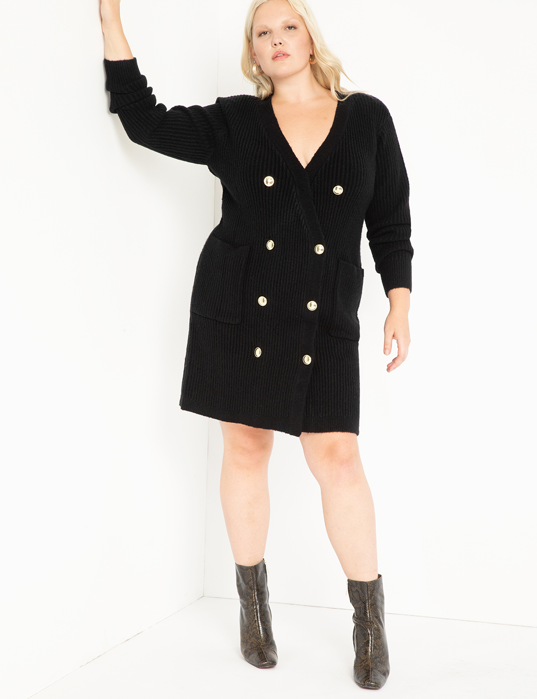 Military Button Sweater Dress