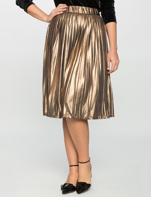 Studio Pleated Metallic Skirt