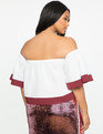 Color Blocked Off the Shoulder Top White / Framboise