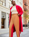 Belted Colorblock Pleat Front Pant Biscuit + Vivid Cherry