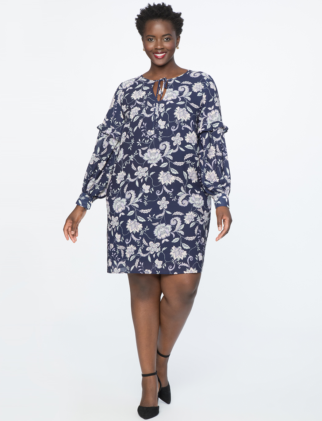 Tie Neck Puff Sleeve Shift Dress