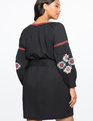Tie Neck Embroidered Dress TOTALLY BLACK