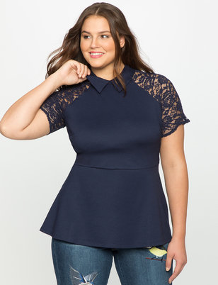 Lace Sleeve Collared Peplum Top