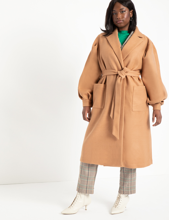 Puff Sleeve Robe Coat | Women's Plus Size Coats + Jackets | ELOQUII