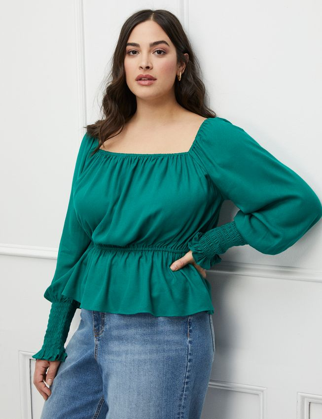 ELOQUII Elements Puff Sleeve Top With Peplum