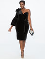 One Shoulder Puff Sleeve Velvet Dress BLACK