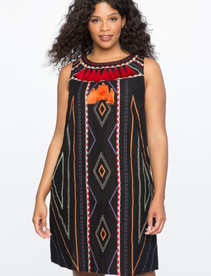 Embroidered Tassel Front Dress