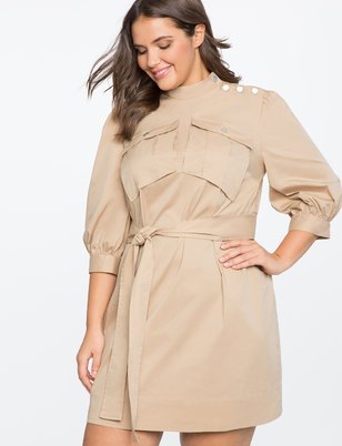 Mock Neck Dress with Button Detail