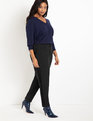 Slim Pant with Side Ruffle Detail Black